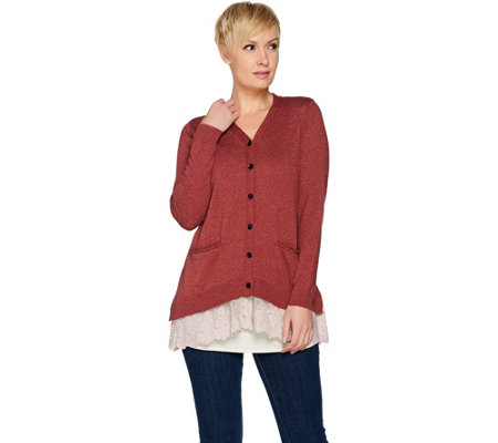 """As Is"" LOGO by Lori Goldstein Button Front Knit Cardigan with Lace Hem"