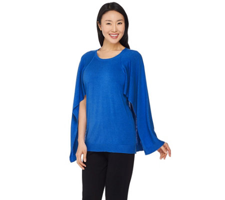 """As Is"" H by Halston Sweater Knit Cape Top"