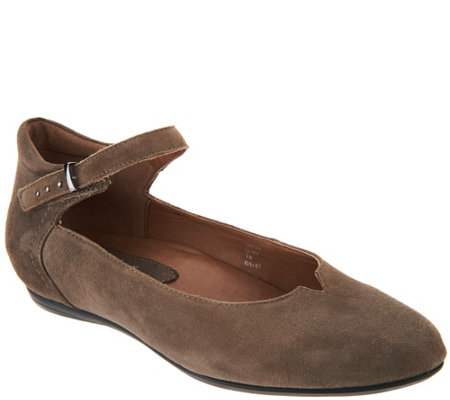 Earthies Suede Flats with Ankle Strap - Emery