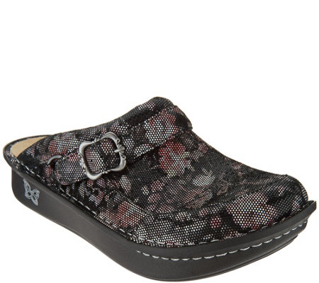 """As Is"" Alegria Leather Slip-on Clogs- Seville"