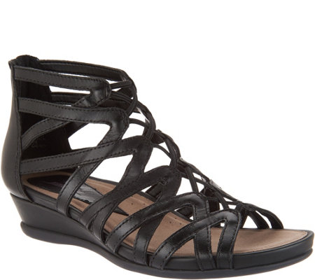Earth Leather Multi-Strap Wedge Sandals - Juno