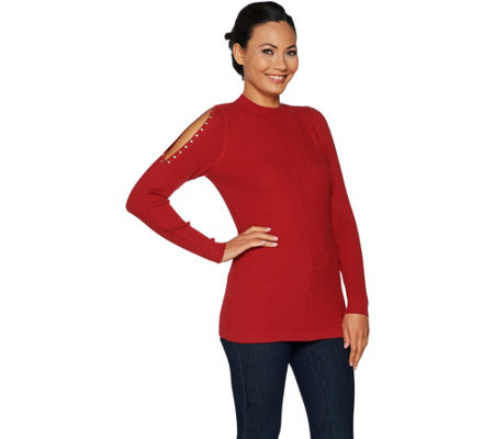 """As Is"" Belle by Kim Gravel Mock Neck Cold Shoulder Sweater"