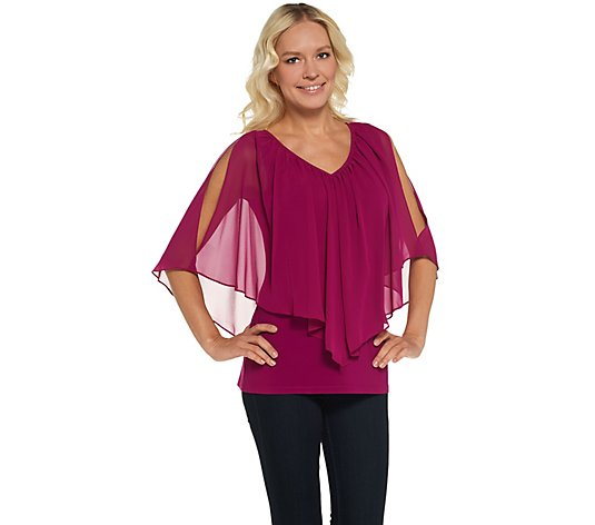 Laurie Felt Split Sleeve Overlay Blouse