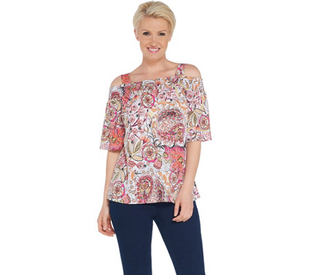 Susan Graver Printed Liquid Knit Off-the- Shoulder Top