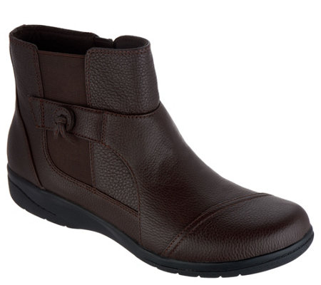 """As Is"" Clarks Tumbled Leather Ankle Boots- Cheyn Work"