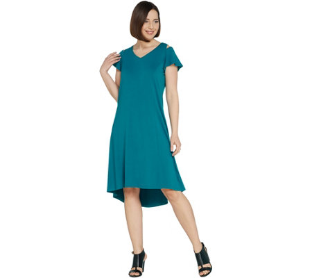 H By Halston Regular Knit Crepe Dress With Cutout Detail