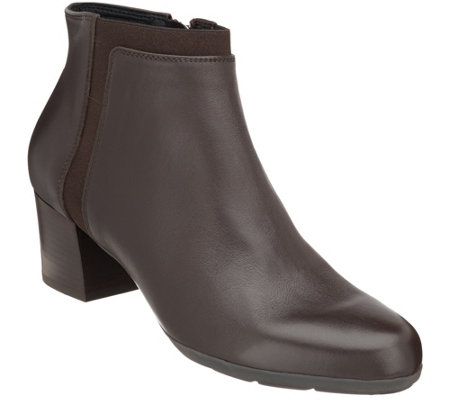 """As Is"" GEOX Leather Block Heel Ankle Boots - Annya Mid"
