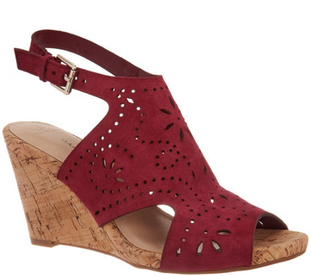 Isaac Mizrahi Live! Perforated Leather Wedge Sandal