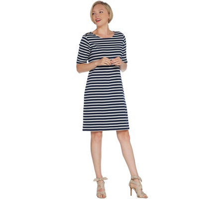 Martha Stewart Striped Scoop-Neck Elbow-Sleeve T-Shirt Dress