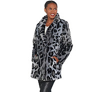 Dennis Basso Madison Avenue Printed Faux Fur Jacket with Notched Lapel - A311302