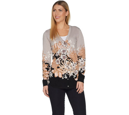 """As Is"" Isaac Mizrahi Live! V-neck Engineered Floral Cardigan"