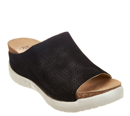 """As Is"" FLY London Perforated Leather Slide Sandals- Whin"