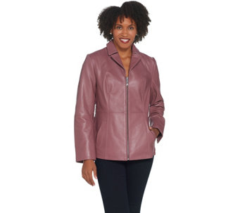 d2fa2bfdd6d Lamb Leather Zip-Front Jacket with Shirred Detail - A342702