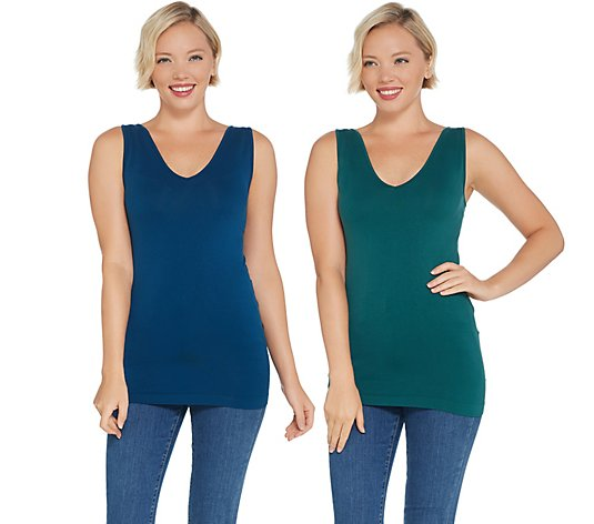skinnytees V-Neck Seamless Layering Tank Set