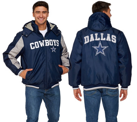 """As Is"" NFL Dallas Polyfill Jacket with Detachable Hood"