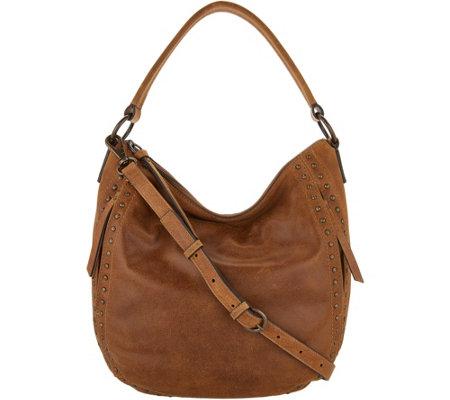 ac8a843317 frye   co. Leather Stud Hobo Bag - Victoria - Page 1 — QVC.com