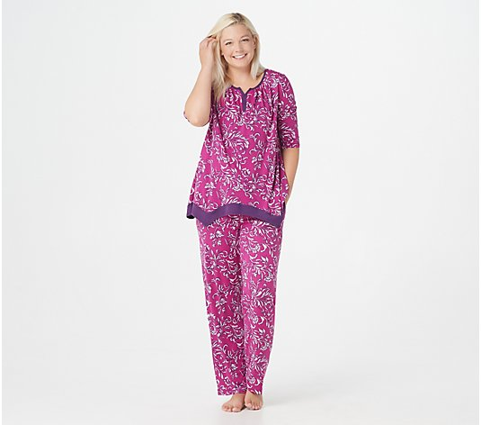 Carole Hochman French Scrolls Sueded Jersey 2-Piece Pajama Set