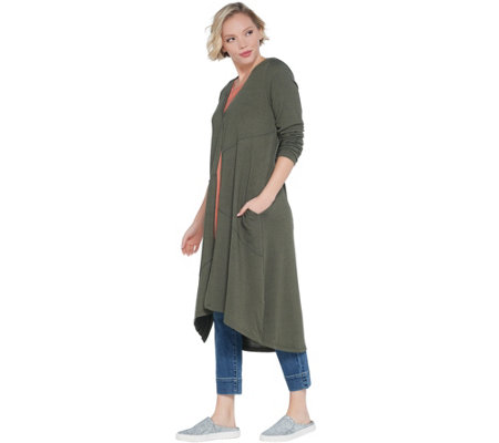 LOGO by Lori Goldstein Petite Sweater Knit Duster w/ Seam Details