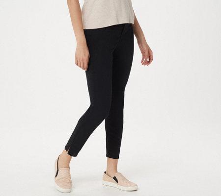 Nydj Ami Skinny Ankle Jeans With Side Slits Black