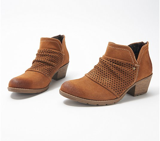 """As Is"" Earth Origins Suede Booties with Perforated Ruching-Amanda"