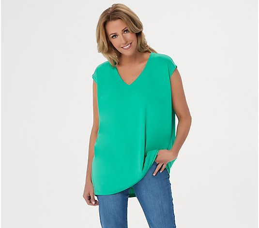 Susan Graver Modern Essentials Liquid Knit V-Neck Top