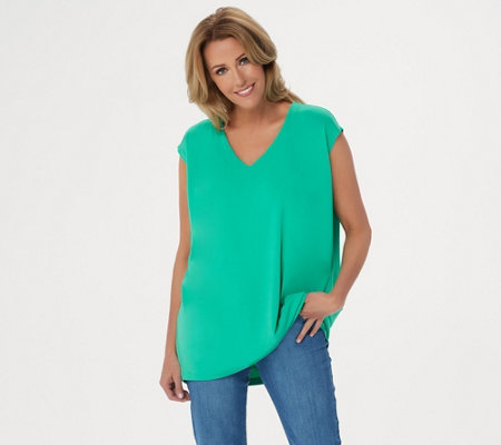 Susan Graver Modern Essentials Liquid Knit V Neck Top
