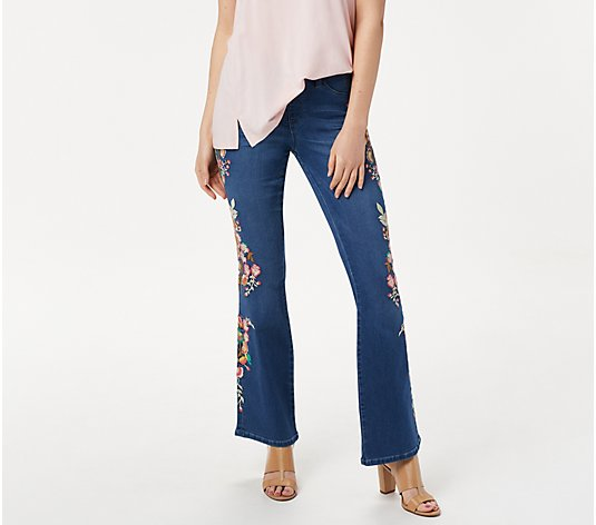 Laurie Felt Tall Silky Denim Embroidered Boot-Cut Jeans