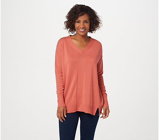 H by Halston V-Neck Boyfriend Sweater with Rib Details