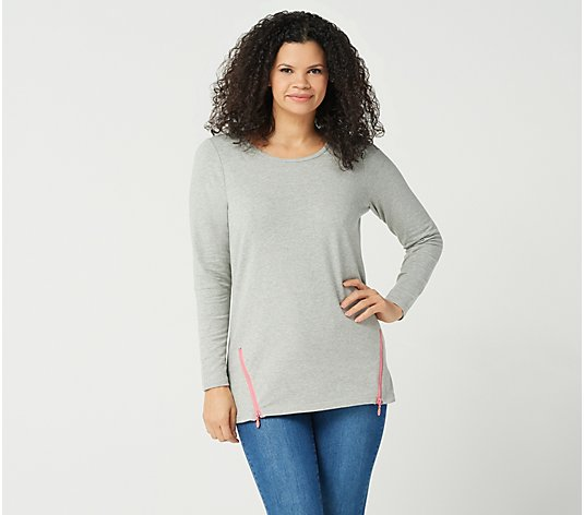"""As Is"" Quacker Factory French Terry Tunic with Contrast Zipper Detail"