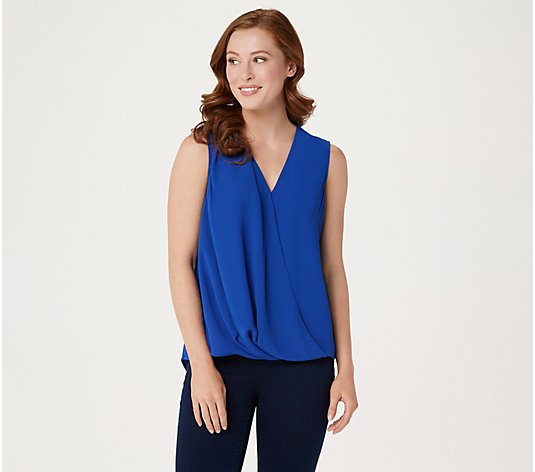Vince Camuto Solid and Printed Wrap-Front Tank Blouse