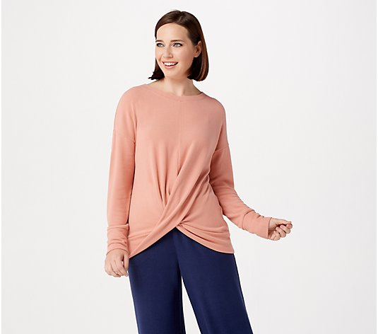 Lisa Rinna Collection Brushed Hacci Twist Front Top