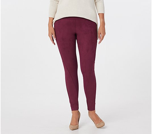 """As Is"" Women with Control Regular Control Faux Suede and Ponte Leggings"