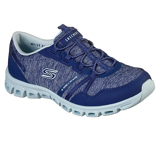 Skechers Heathered Mesh Bungee Slip-On Shoes - Glide Step