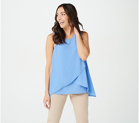 """As Is"" Susan Graver Liquid Knit Sleeveless Top with Woven Overlay"