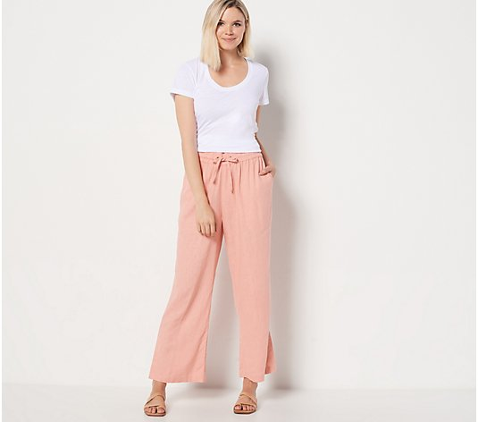 Denim & Co. Naturals Petite Linen Blend Ankle Pants with Side Slits
