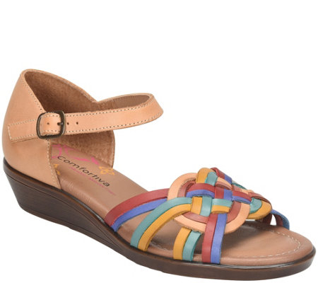 Comfortiva Woven Leather Huarache Sandals - Fortune
