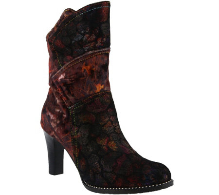 L'Artiste by Spring Step Leather and Velvet Boots - Neada