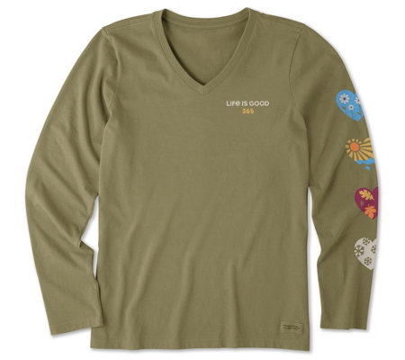 Life Is Good 365 Hearts Long Sleeve Crusher V Neck Shirt