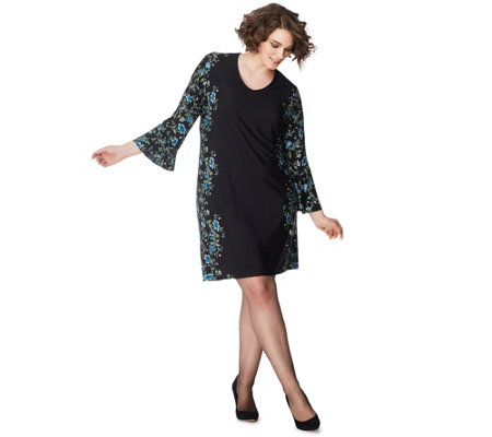 Just My Size Women's Plus Bell-Sleeve Border Print Dress