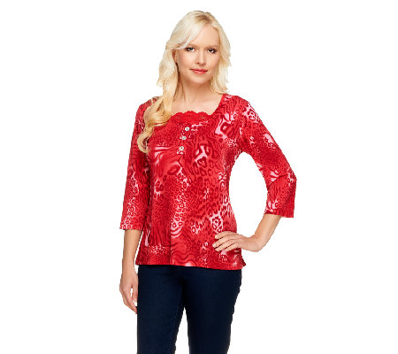 Susan Graver Liquid Knit Animal Print Top with Lace Inset