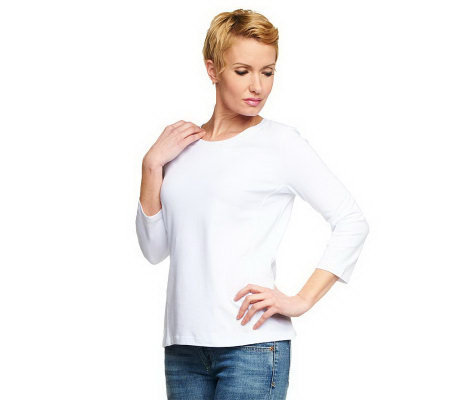 Women with Control 3/4 Sleeve Top with Seam Detail