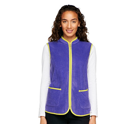 Susan Graver Polar Fleece Zip Front Vest with Contrast Trim