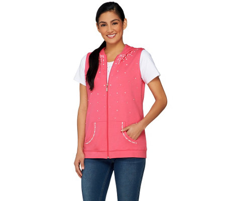Quacker Factory Pearl Vest & Short Sleeve T-shirt Set