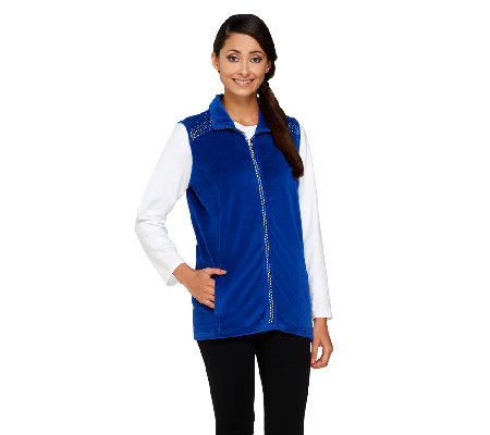 Quacker Factory Velour Vest W/Rhinestone Shoulder Detail
