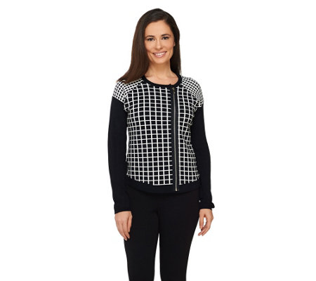 Dennis Basso Asymmetrical Zip Front Sweater with Raglan Sleeves