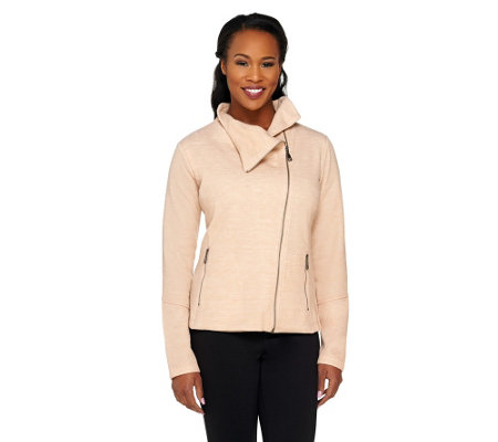 Lisa Rinna Collection Asymmetric Zip Front Knit Jacket