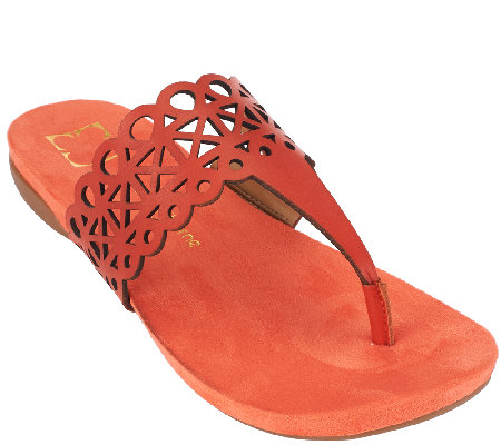 Liz Claiborne New York Leather Sandals with Cut-Out Design