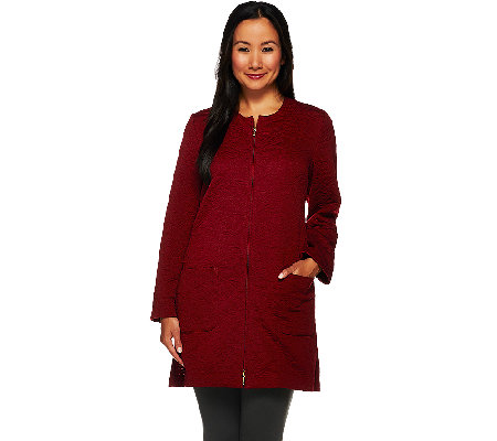 Susan Graver Textured Knit Long Sleeve Zip Front Long Jacket