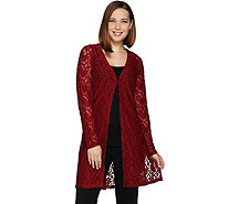 Susan Graver Stretch Lace Long Sleeve Open Front Long Cardigan - A270303