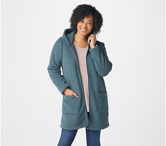 Denim & Co. Fleece Zip Front Jacket with Sherpa Lining and Hood
